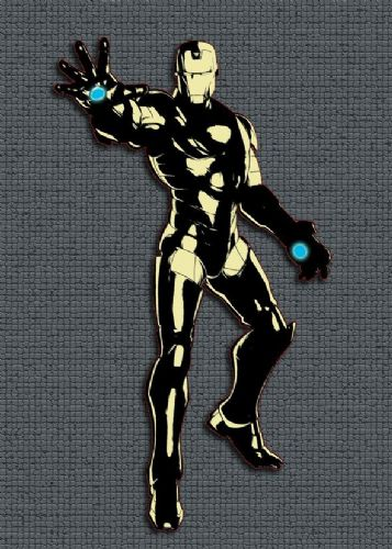 2000's Movie - IRON MAN - GREY TILE EFFECT ART canvas print - self adhesive poster - photo print